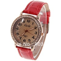 New Fashion CaiQi 568 Women's Watch with Diamonds 12 Arabic Numbers and Dots Hour Marks Round Dial Leather Band wristwatch