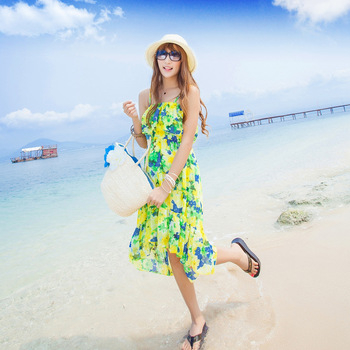 Bohemia spaghetti strap dovetail dress beach dress one-piece dress