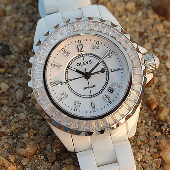 Ceramic ladies watch fashion ladies watch rhinestone table ladies watch trapezoid crystal