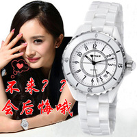 Card white ceramic table watch gift quartz watch female form rhinestone large dial fashion table