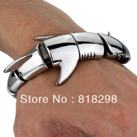 Free Shipping Heavy Casting Strong Silver Stainless Steel Cool Shark Heavy Bangle Biker Fashion Men Bracelet
