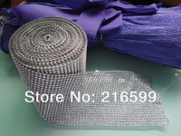 "Wholesale -Hot Sell 4.5"" 10 Yards 24 Row Wedding Decoration Diamond Mesh Roll Rhinestone Ribbon Crystal Wrap FREE SHIPPING"