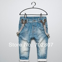 FREE SHIPPING new fashion Children Boy Bib Girl jeans baby boys child jeans Detachable strap trousers casual pants flanging