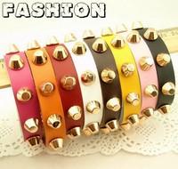Top quality,fashion charms women & mens Korean golden rivet colorized Cow leather  bracelet ,bangles,hot sale,49-3 Free shipping