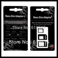 Nano Sim Card Adapters + Micro Sim + Stander Sim Card White/black For Iphone 4 / 4S/ 5