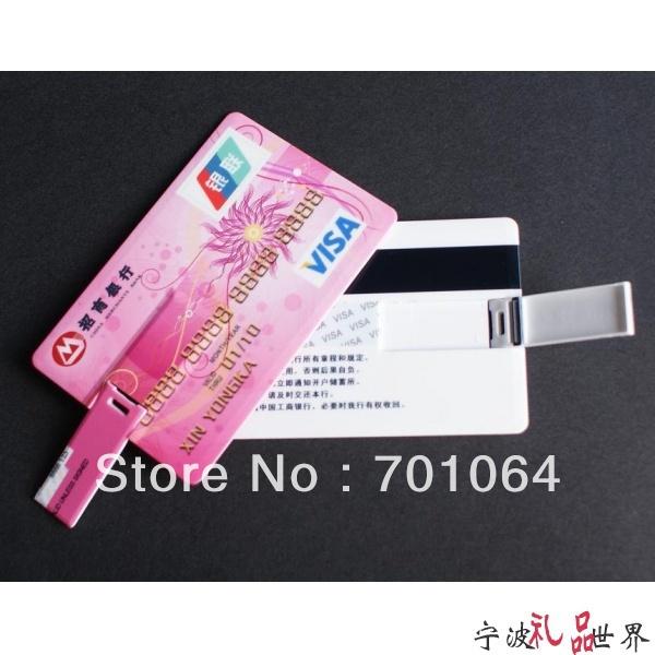 Free shipping:100pcs 8GB credit card USB flash drive with both sides full color prining(Hong Kong)