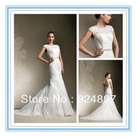 Sexy Sheath New Appliqued Latest Wedding Gown Designs(WDS-1029)