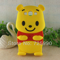 3D Yellow Winnie Bear Cartoon Silicone Soft Cover Mobile Phone Case For Samsung I9300 Galaxy SIII S3 Free Shipping