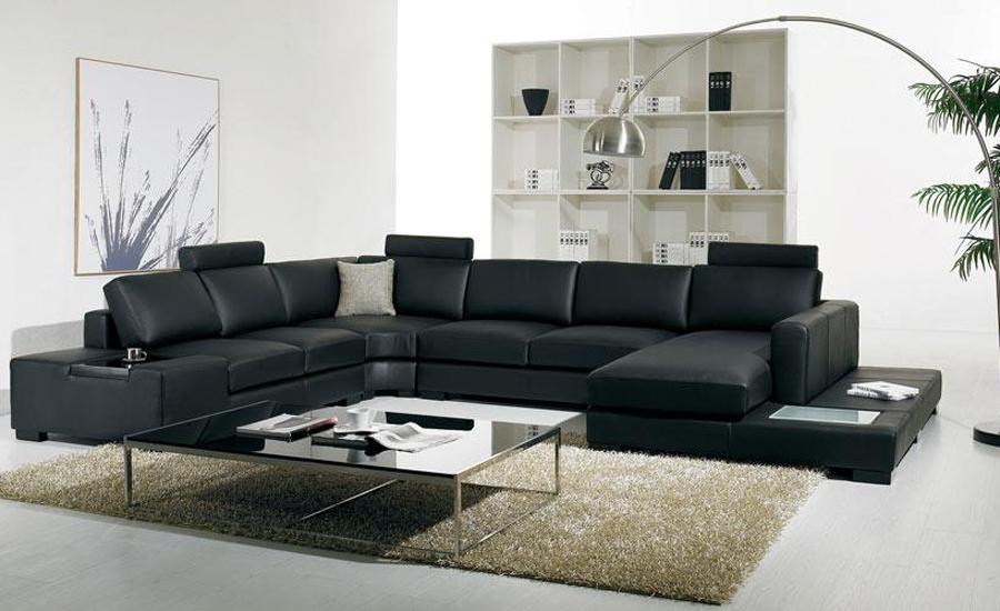 Aliexpress.com: Compre Sofu00e1 de couro preto moderno tamanho grande em forma de U com luz LED de ...