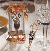 Factory directly sale Wedding favor Maple Leaf Gold Metal Bottle Stopper