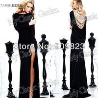 2014 Traik Ediz Elegant Boat Neck Long Sleeves Slit Side Beaded Open Back Beautiful Mermaid Evening Gowns Dresses New 92229long