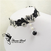 AR Lace Black and white two-color rose gothic vintage short necklace queen lace necklace collapsibility ls126  Freeshipping