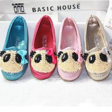 2013 mew children shoes rhinestone bear gommini girls loafers shoes(China (Mainland))