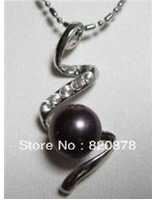 "Wholesale Noblest 8-9mm Black Akoya Pearl Pendant Necklace 17"" fashion jewelry"