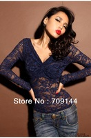 Free Shipping Sexy V-neck Slim Perspective Long-sleeves Crop Top Lace Shirt Women Top T-shirt