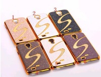 Hot Selling,S Line Gold Chrome Diamond Cover Case For Samsung Galaxy SIV S4 i9500 9500 Case, Mix Color