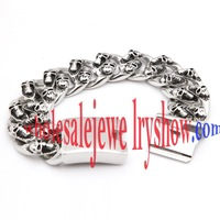 Unique Fashion Style of Silver & Black Skulls Family Stainless Steel  Bracelets Charms