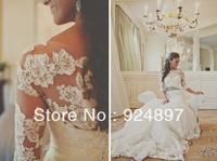 2013 New Arriva Sheath Appliqued Half Sleeve Sheath Lace Wedding Dress(WDS-1034)