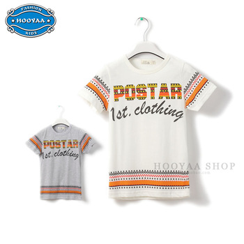 2013 medium-large boys clothing fashion pattern child short-sleeve T-shirt basic o-neck shirt