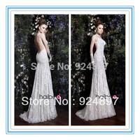 Sexy Low Back Spaghetti Strap Sheath Lace Latest Bridal Wedding Gowns(WDS-1032)