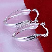 E158 Wholesale ! Wholesale 925 silver earrings, 925 silver fashion jewelry, Triple Pieces Earrings