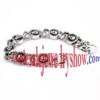 Cool Style Silver & Black Skull Photo Frame Designs Stainless Steel Polished Bracelets