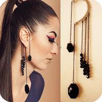Free shipping more than $15+gift vintage black gem beaded no pierced tassel ear hook one earring acrylic fashion well15g