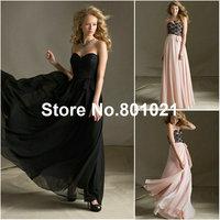 Top Sale A-line Strapless Black/Blush Lace Chiffon Tie Sash cheap bridesmaid dresses