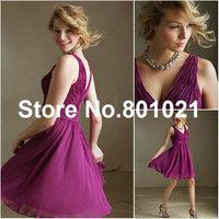 Amazing V-neck Mini Length Style 31015 Chiffon Mulberry designer bridesmaid dresses