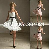 Hot Sale Sweetheart Style 31013 Chiffon Blush Satin Tie Sash Mini spring bridesmaid dresses