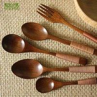 Natural wool wood tableware chinese style lacquer spoon wooden spoon spoon japanese style ice cream spoon