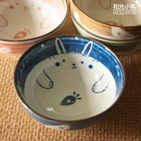 Japanese style ceramic and wind rabbit bowl porridges bowl sushi