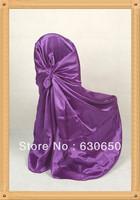 Deep purple self tie chair cover/banquet chair cover/wedding chair cover/spandex chair cover/pillowcase chair cover