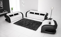 2013 New Classic Black & White Genuine Leather Solid Wood Frame Modern Sofa Set  living room furniture 9122-1