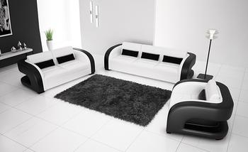 2013 New Classic Black & White Genuine Leather Solid Wood Frame Modern Sofa Set  living room furniture 9122-1
