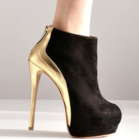 2013 Winter Warm Zipper Metallic Heel High Heel Boots For Women Stiletto Boots Shoes X486 Drop Shipping