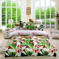The Perfume lily 3D Reactive Printing Bedding Set.Soft Velvet Quilt cover 200*230cm+sheet 230*250cm+2pillowcase48*74cm