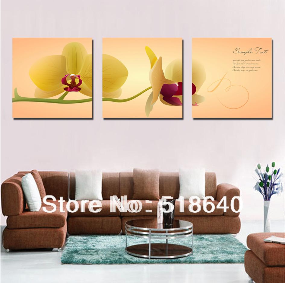 3 panel large simple phalaenopsis flowers scenery canvas painting living room home decoration - Home decoration painting minimalist ...