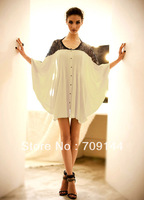 Free Shipping 2014 Fashion Summer Chiffon Sexy Loose Lace Stitching Bat Sleeves Casual Shirt For Women
