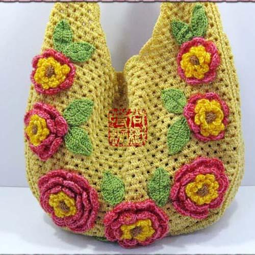 Free shipping Winnie's Gold camel light flower package twiner bag crochet bag line hook package line bag art handmade bag(China (Mainland))