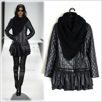 2013 winter leather wadded jacket fashion top quality leather coat fashion slim PU skirt outerwear