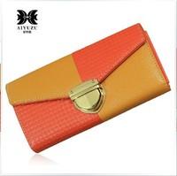 2013 New Designer 2 Color Patchwork Women's Long Design Wallet Genuine Cowhide Leather Fashion Women Clutch Wallets
