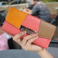 2013 New Fashion Designer 3 Color Patchwork Women's Envelop Wallet Genuine Cowhide Leather Women's Long Tri-fold Clutch Wallets