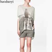 Low-high haoduoyi vintage irregular loose dovetail modal t-shirt white 6 full