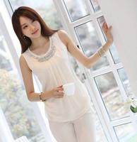2014 summer new women's short-sleeved chiffon shirt Slim sleeveless vest double diamond white wild shirt