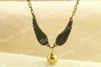 20pcs/lot The Golden Snitch necklace pendant Harry Potter jewelry Bronze Tone