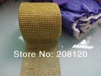 "GOLD 4.5""x10 Yards 24 Row DIAMOND MESH WRAP ROLL SPARKLE RHINESTONE Crystal Ribbon"