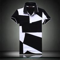 2013 summer turn-down collar male t-shirt plus size clothing plus size men's slim short-sleeve T-shirt short-sleeve casual