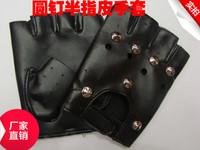 free shipping Promotional punk rivet fashion belt short half finger leather gloves