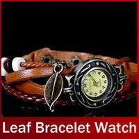 Fashion Vintage Punk Style Women Ladies Girls Bracelet  Wristwatches Leaf Pendant  Analog Quartz Wrist Watches FREE SHIPPING